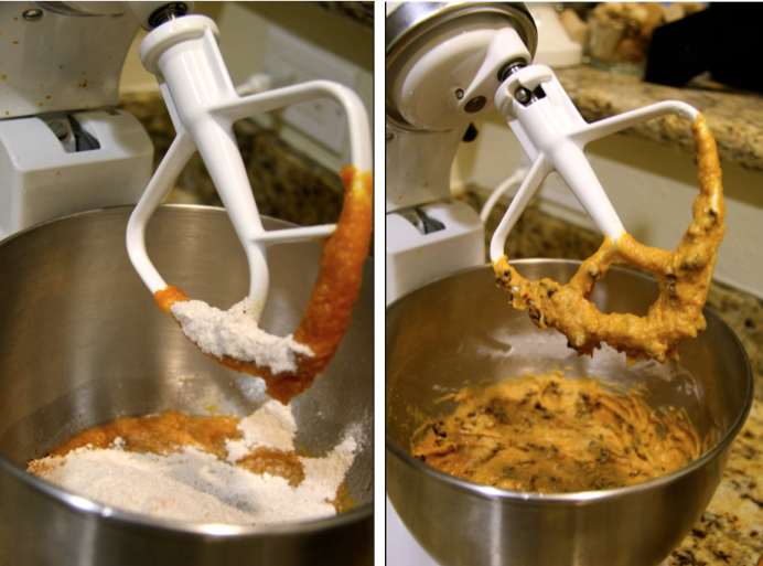 mixing pumpkin batch