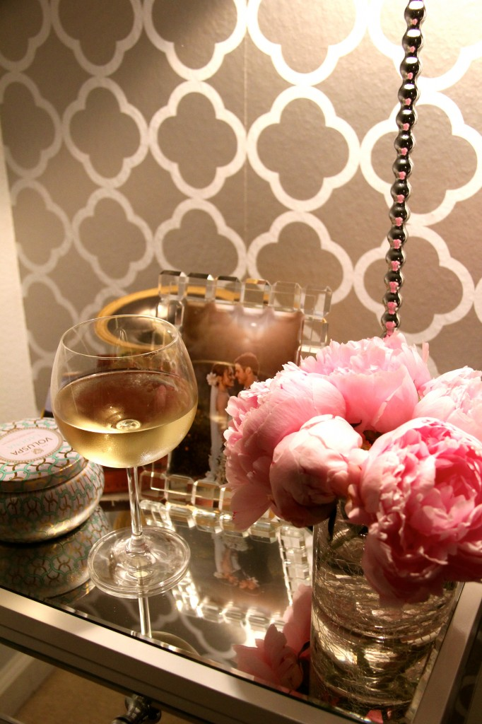 wine and peonies