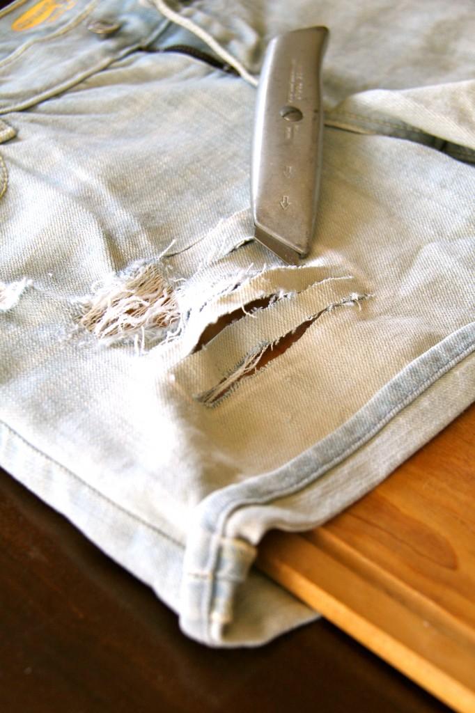 DIY distressed denim