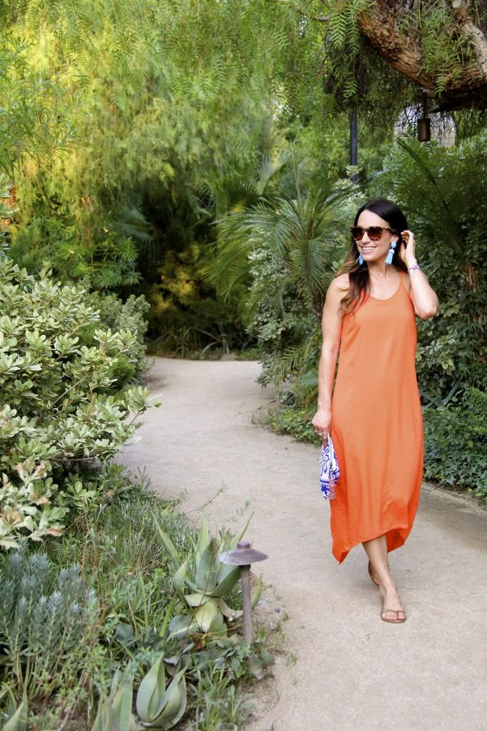 orange dress, lisi lerch earrings