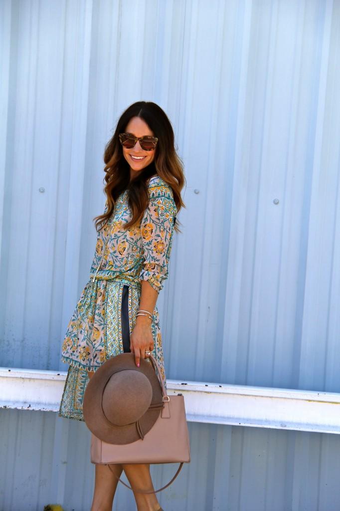floral boho dress, floppy hat
