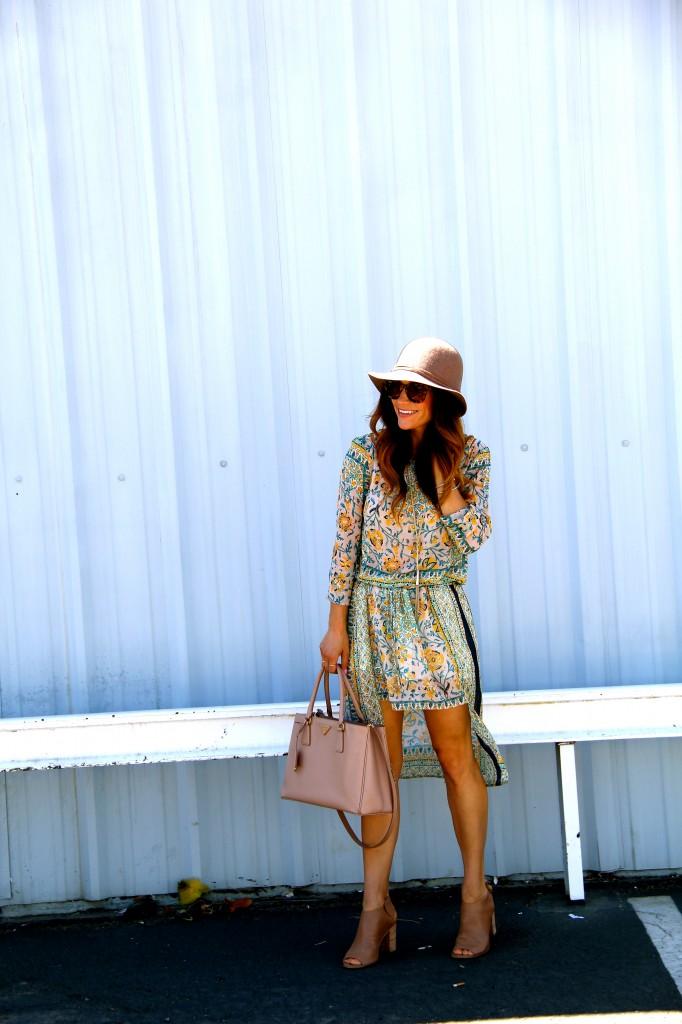 floppy hat, floral boho dress