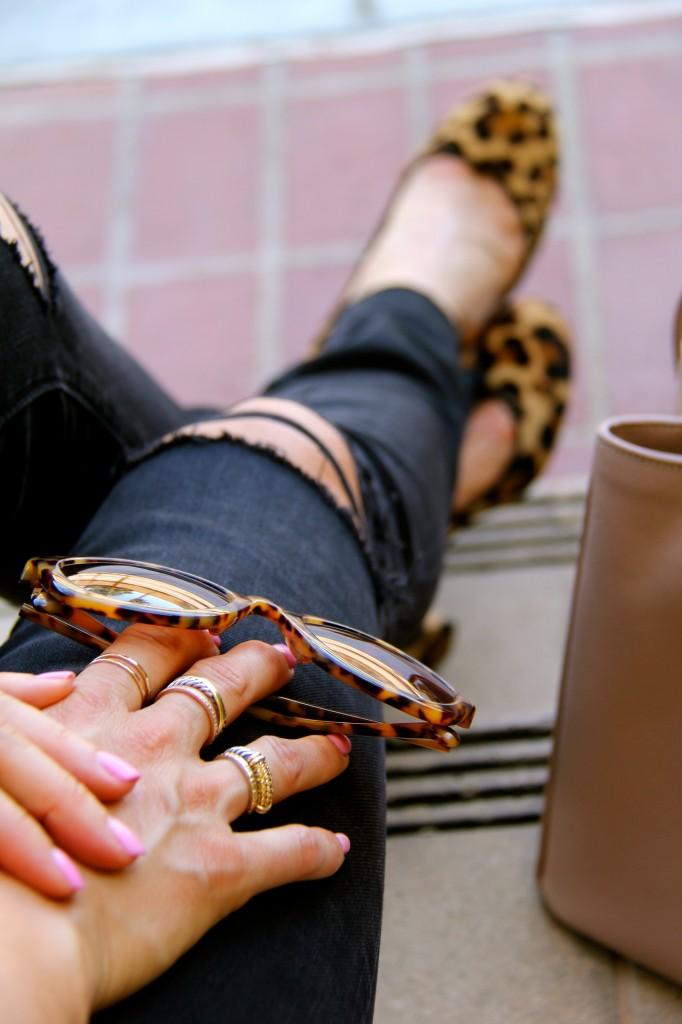 distressed denim, leopard heels