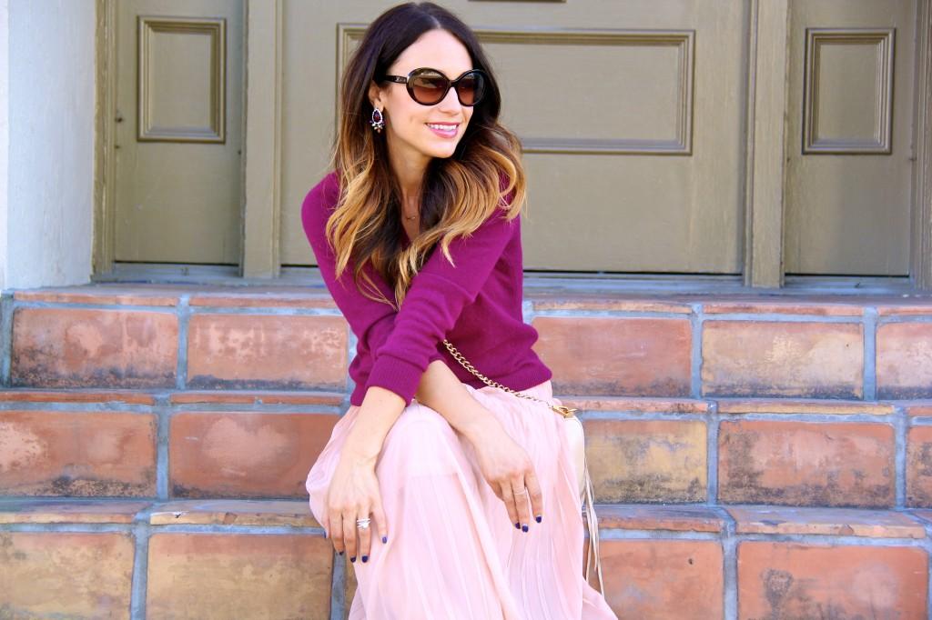 blush skirt, maroon top