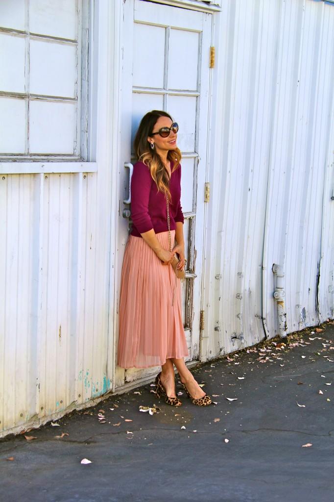 blush skirt, maroon sweater, leopard pumps