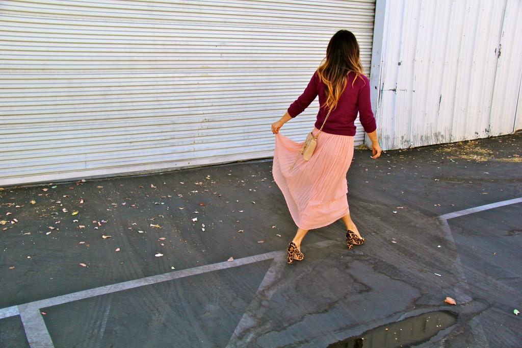 blush skirt, maroon sweater