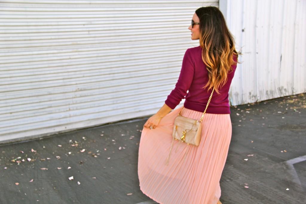 blush skirt, rebecca minkoff purse