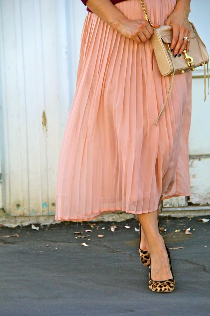blush skirt, leopard pumps
