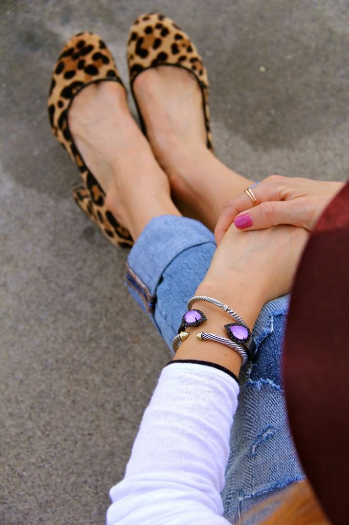 leopard pumps, loren hope bracelet