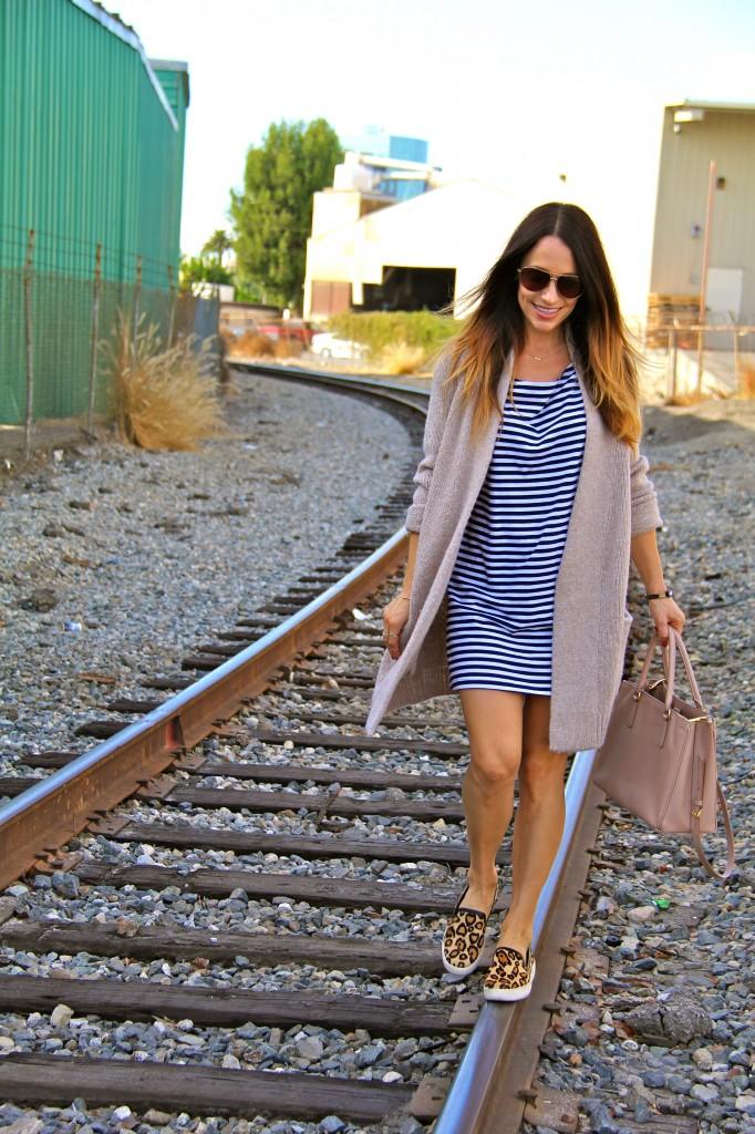stripe dress, leopard sneakers