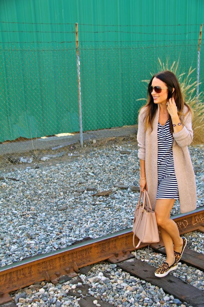 leopard sneakers, stripe dress, long sweater