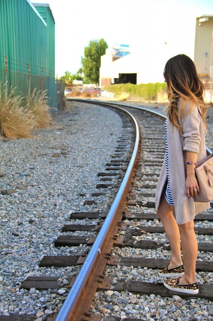 stripe dress, long sweater, leopard sneakers