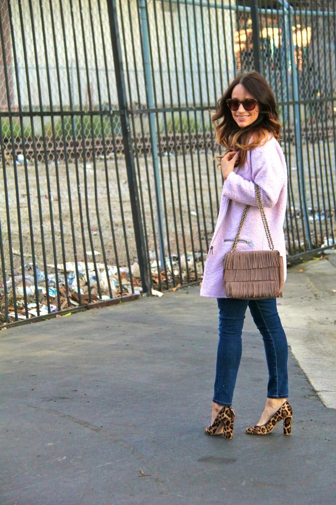 pink cocoon coat, leopard pumps