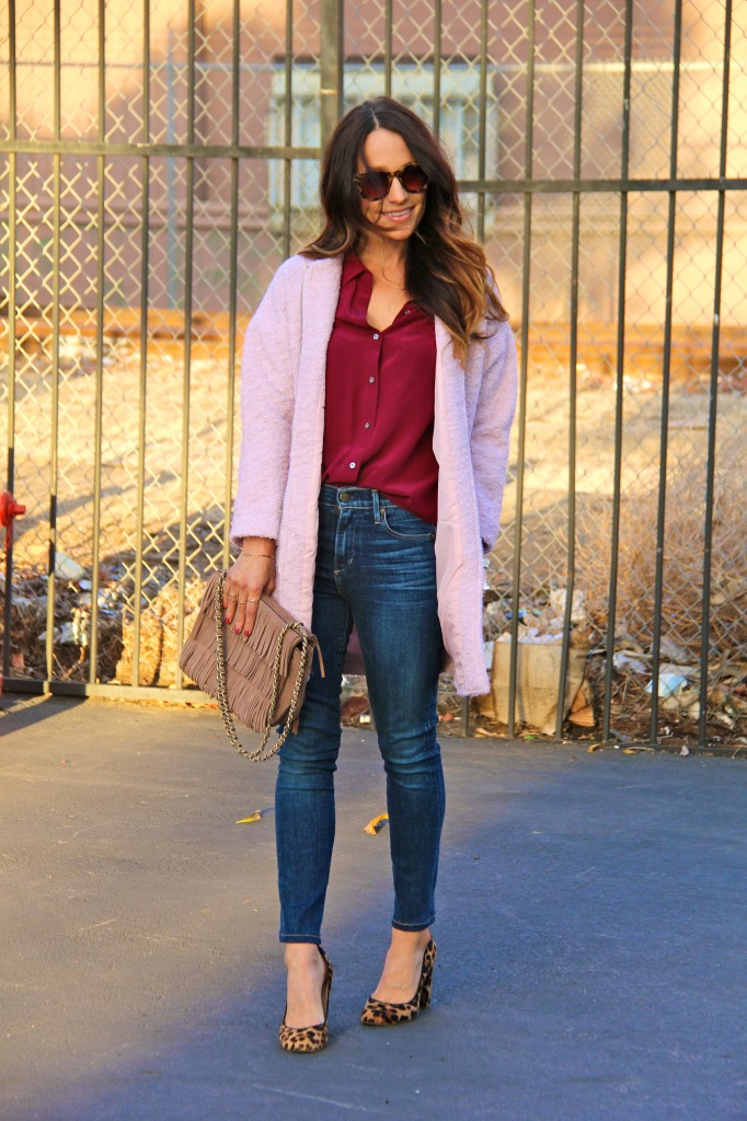 pink cocoon coat, high waisted jeans