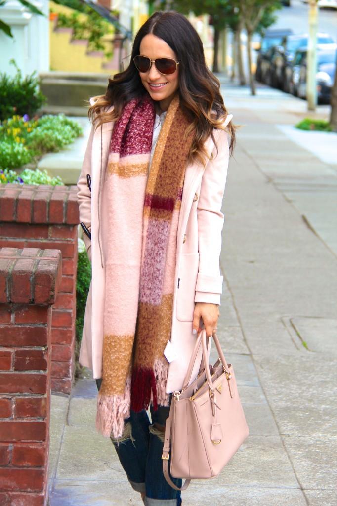 blanket scarf, tan coat