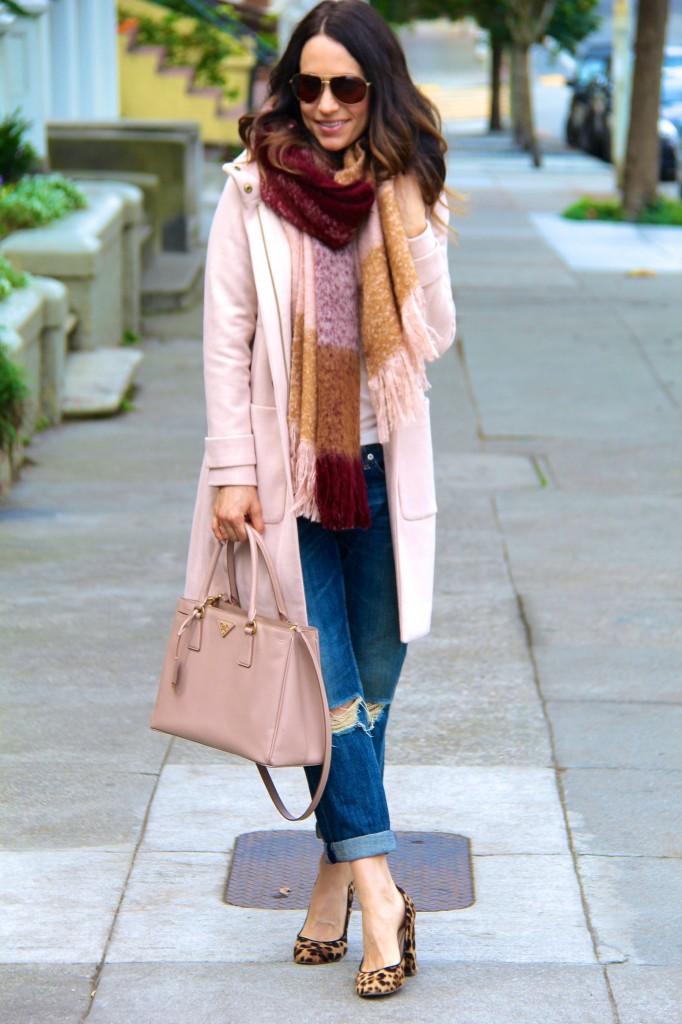 blanket scarf, distressed denim, tan coat