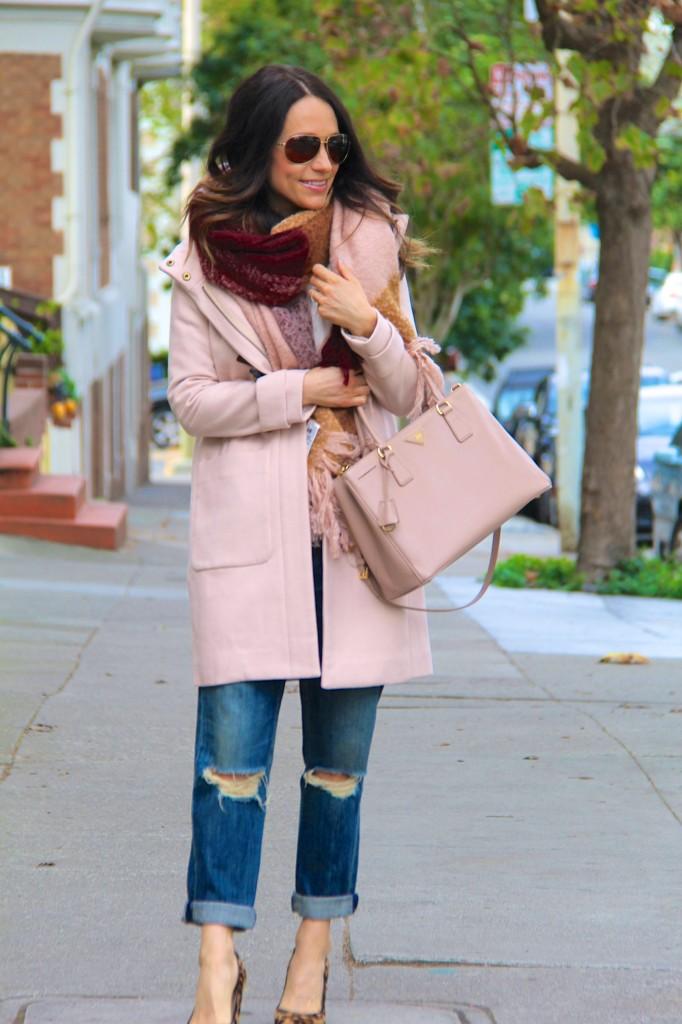 distressed denim, blanket scarf, tan coat