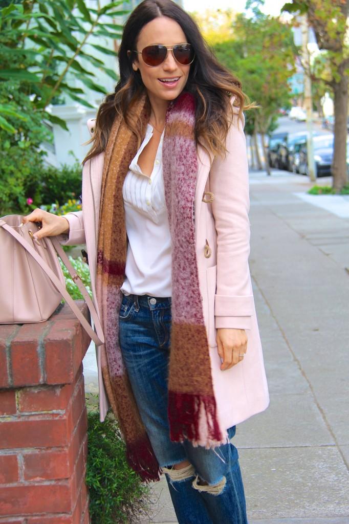 blanket scarf, distressed denim