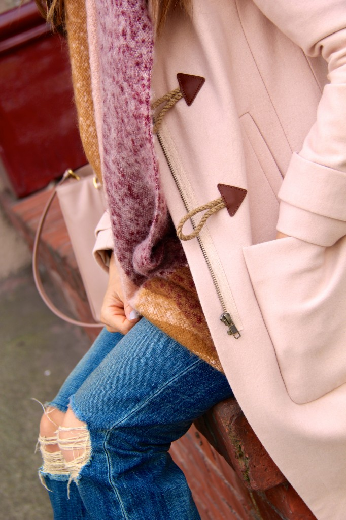 toggle coat, blanket scarf