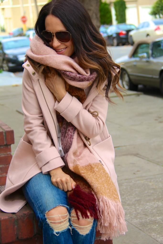 distressed denim, blanket scarf
