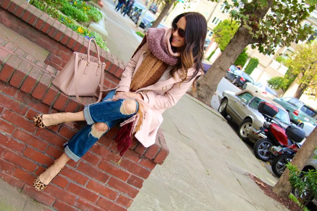 blanket scarf, distressed denim, leopard heels
