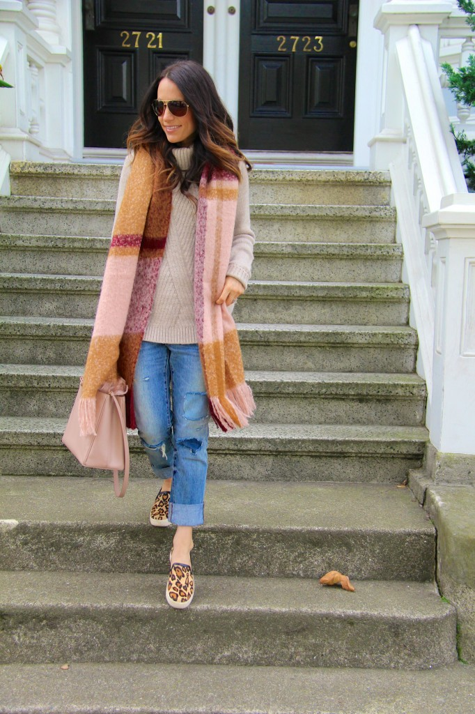 distressed denim, blanket scarf, chunky knit sweater