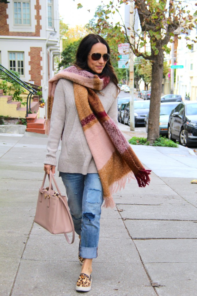 chunky knit sweater, distressed denim, blanket scarf