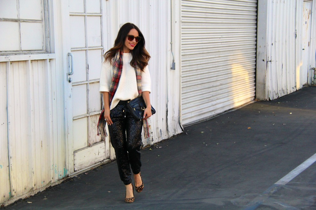 sequin joggers, tartan scarf, holiday dressing