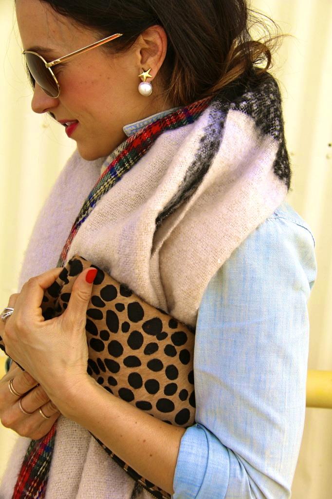 360 pearl earrings, leopard clutch