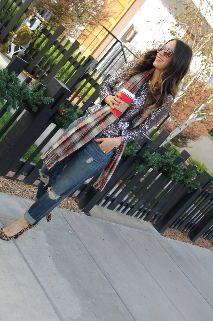 sequin top, boyfriend jeans