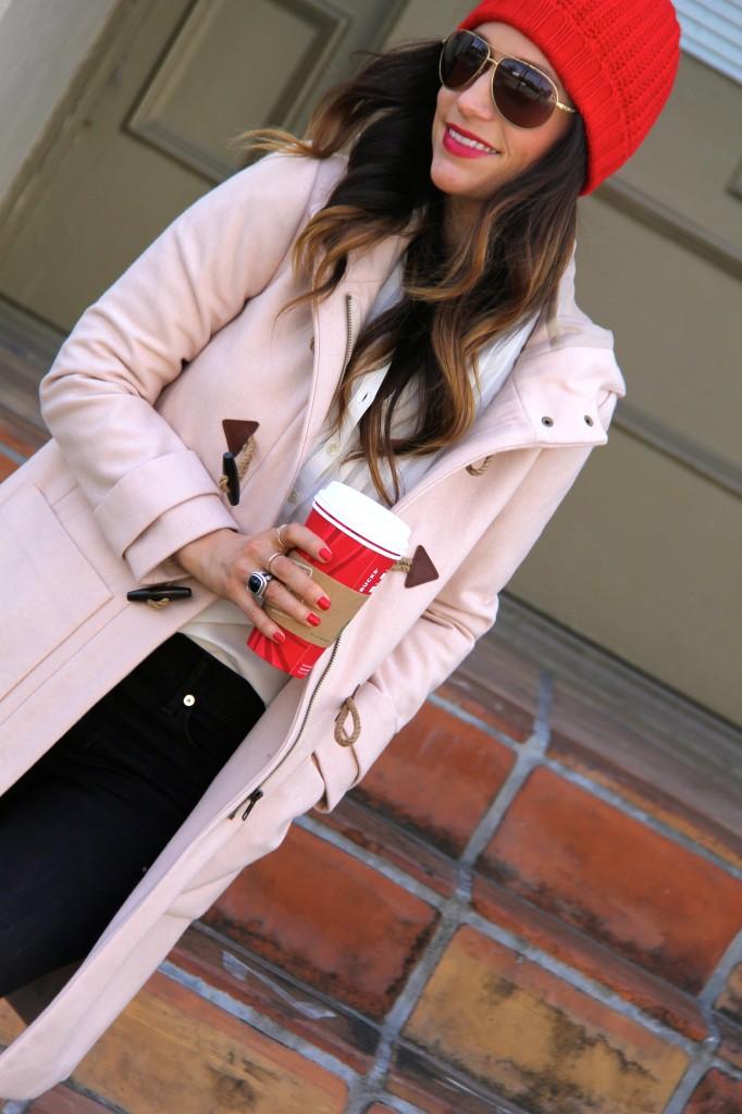 toggle coat, red beanie, itsybitsyindulgences