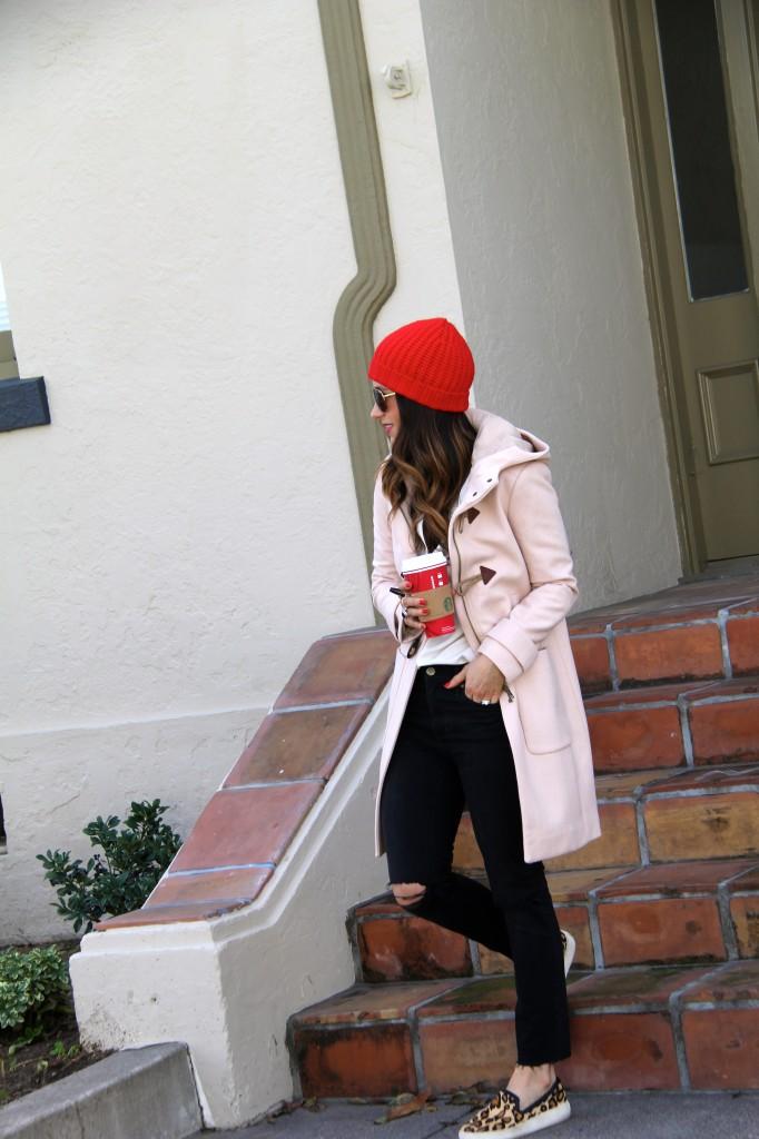 red beanie, leopard shoes, camel coat, itsybitsyindulgences