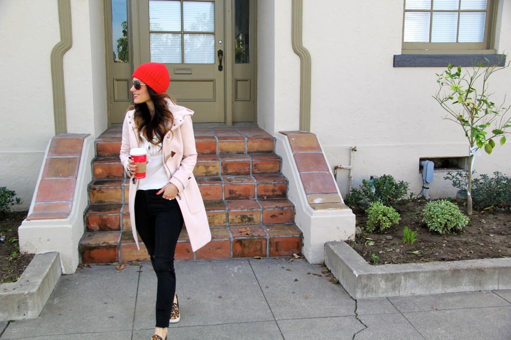 red beanie, toggle coat