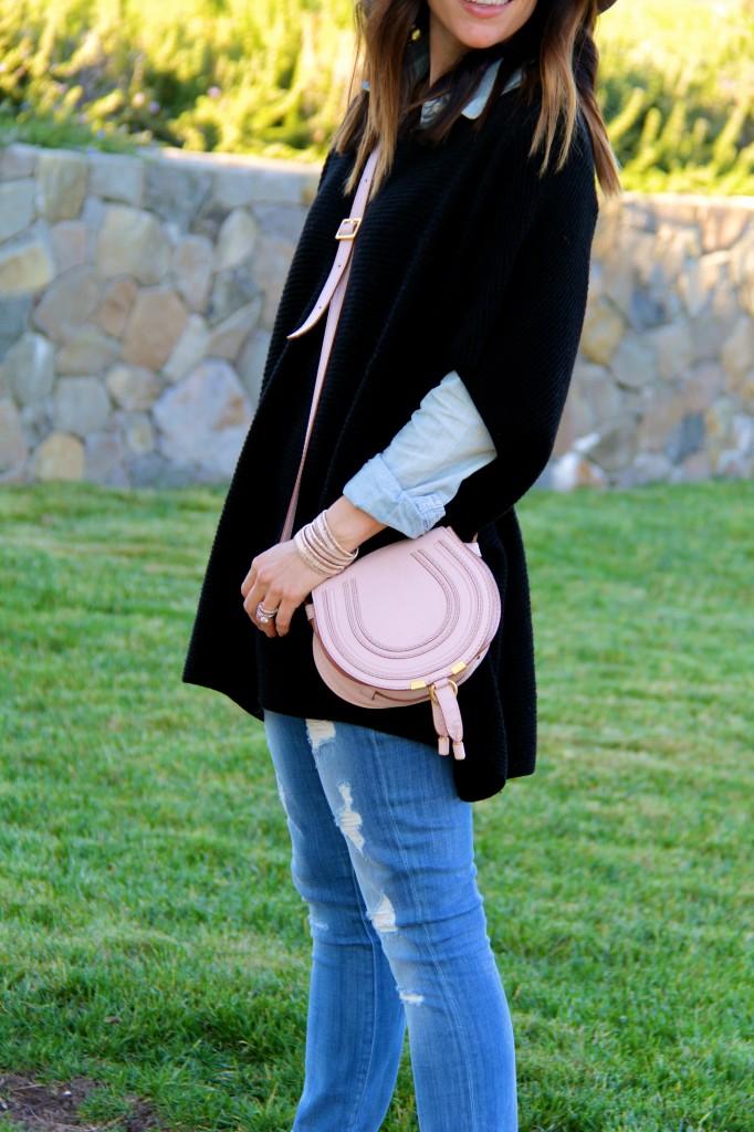 chloe purse, black poncho