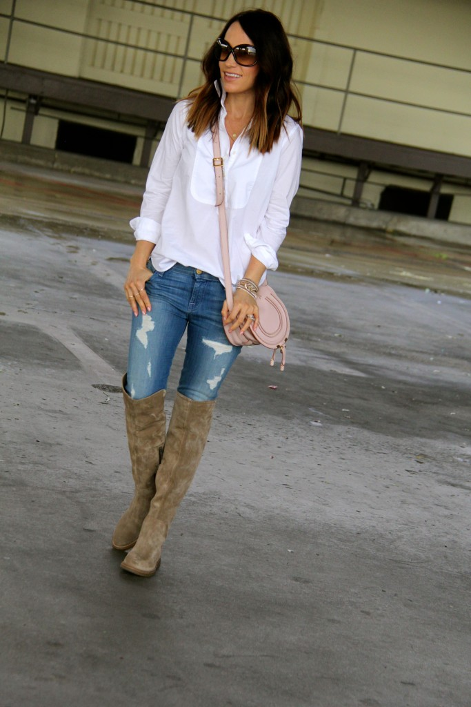 over the knee boots, distressed denim