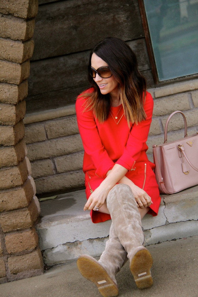 red dress, suede over the knee boots