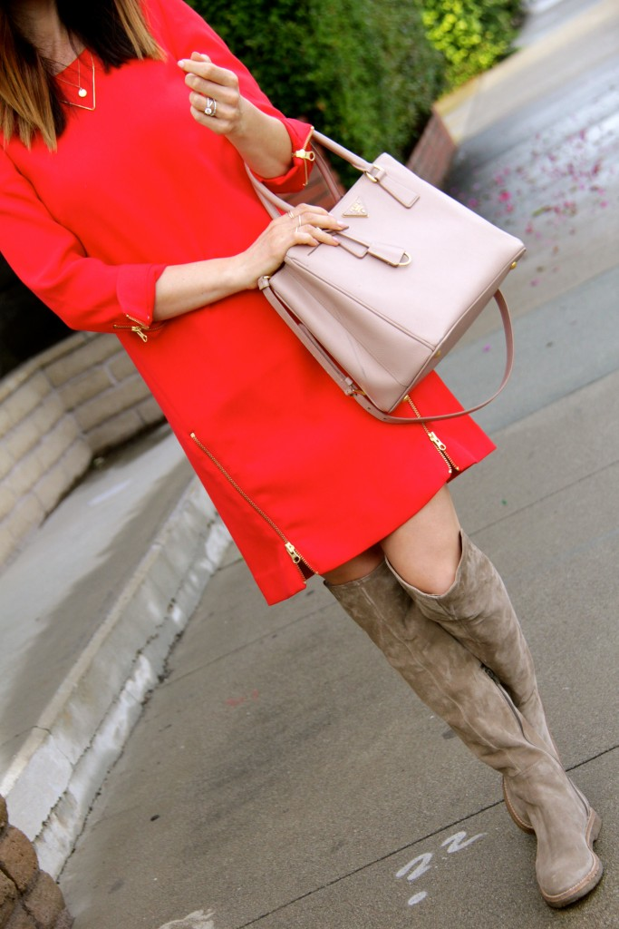red dress, over the knee boots