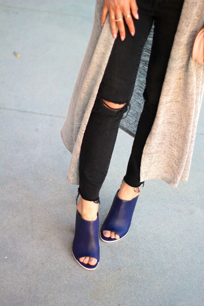 vince navy mules, distressed denim