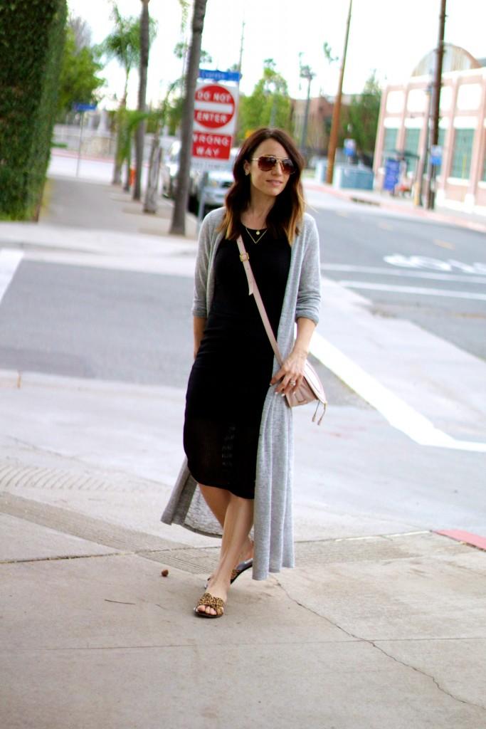duster sweater, black bodycon dress, leopard sandals