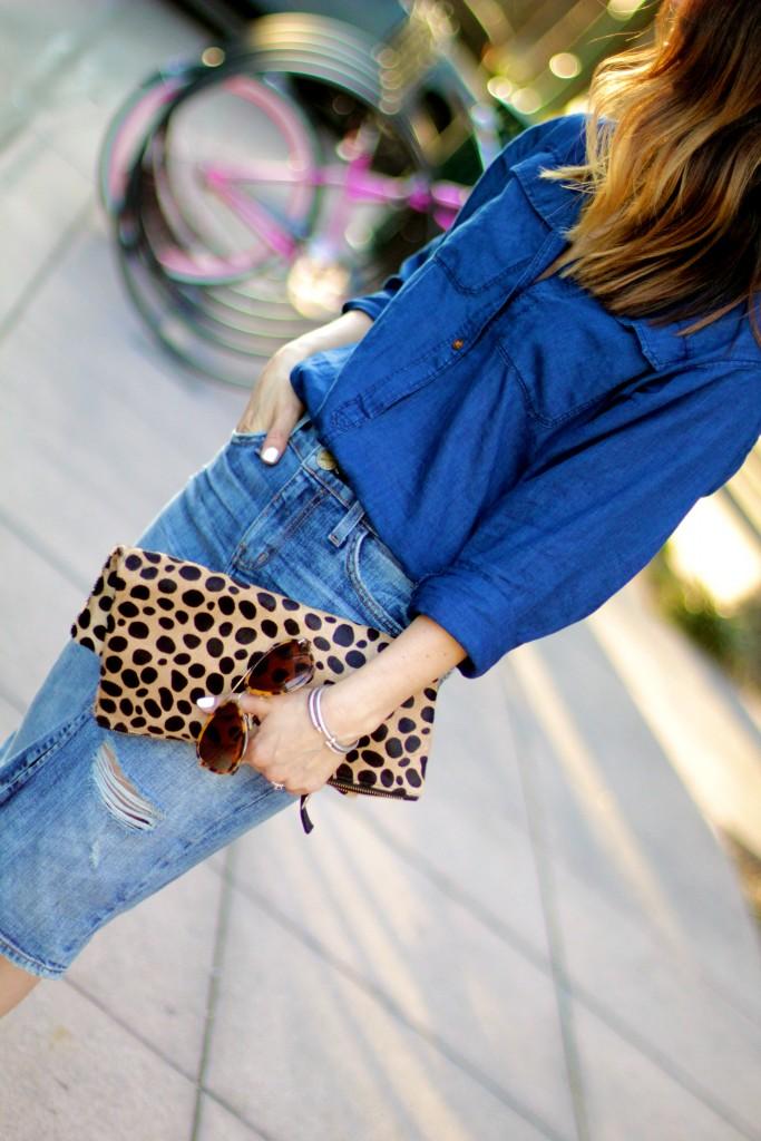 leopard clutch, denim skirt, itsy bitsy indulgences