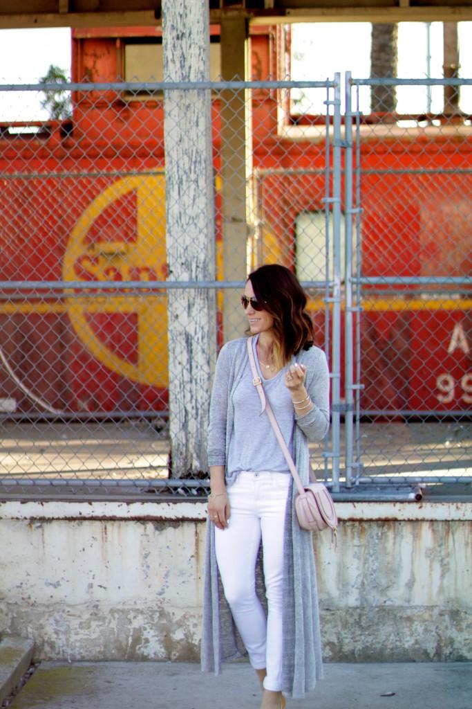 duster sweater, white denim