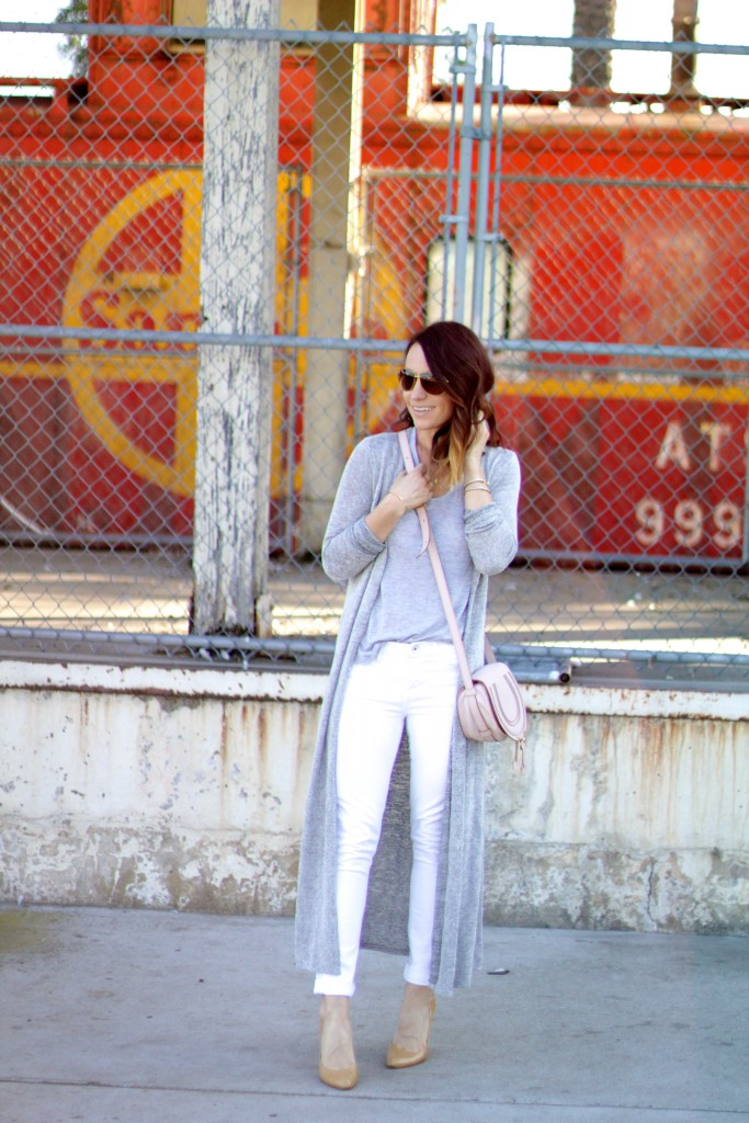 white and grey, duster sweater, white denim