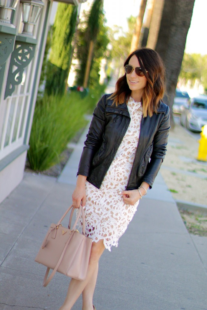 white lace dress, leather jacket