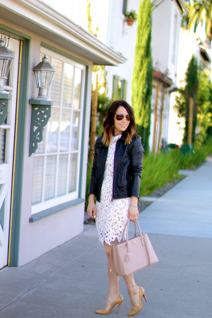 white lace dress, black leather jacket