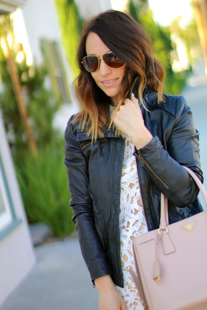 white lace, leather jacket