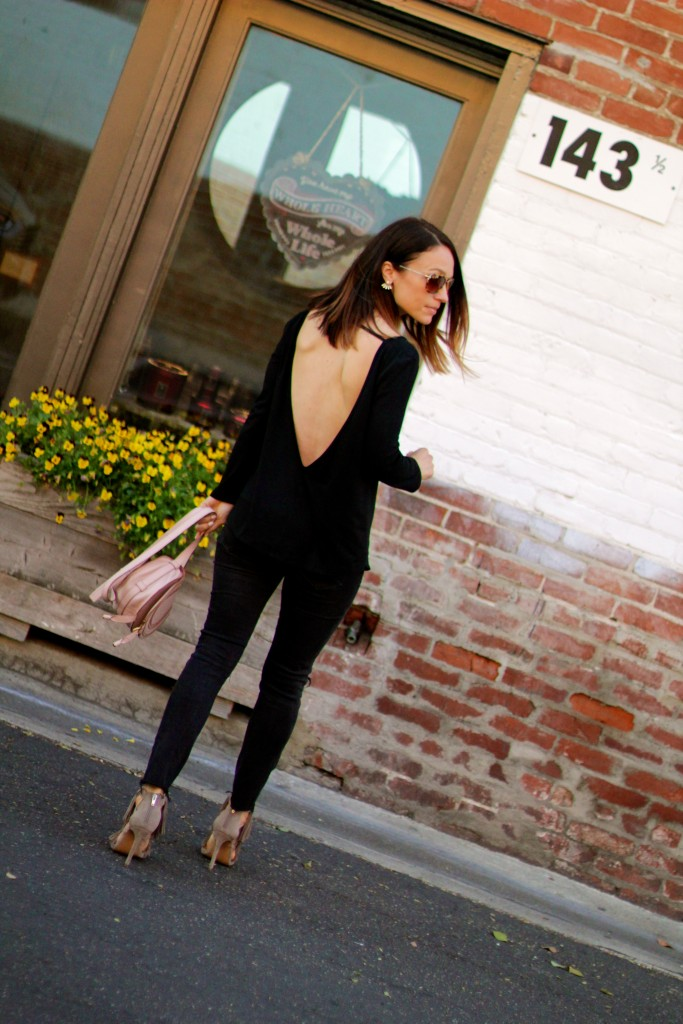 backless top, all black outfit