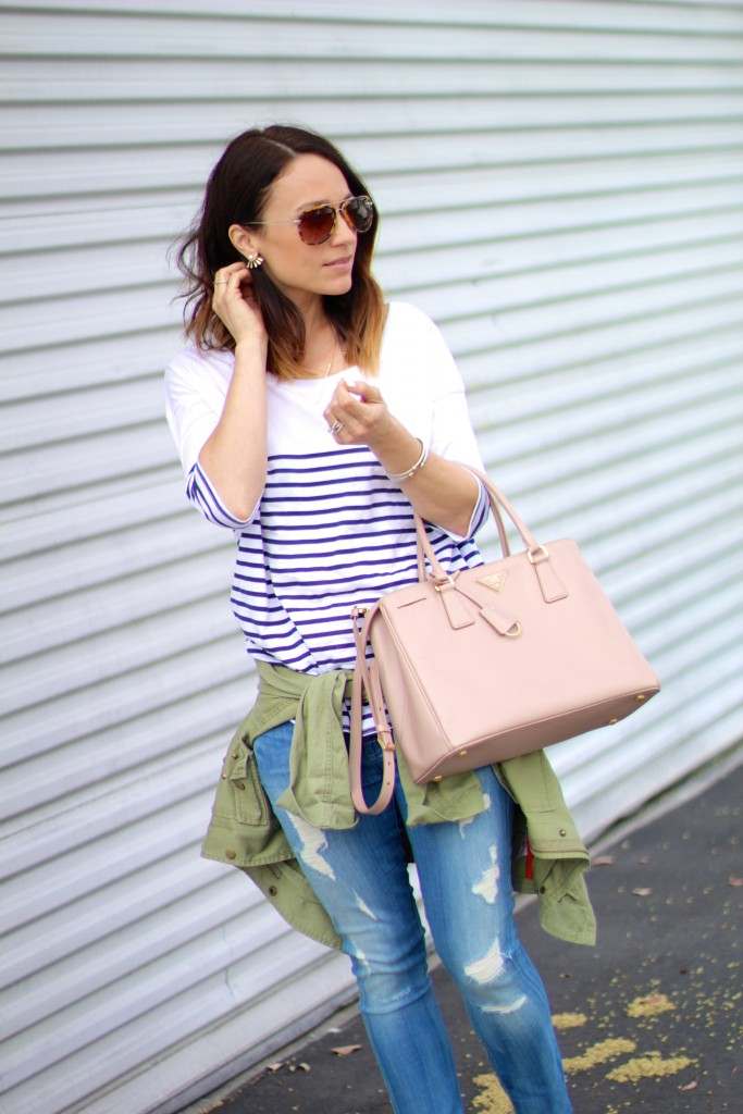 stripe jcrew top, distressed denim