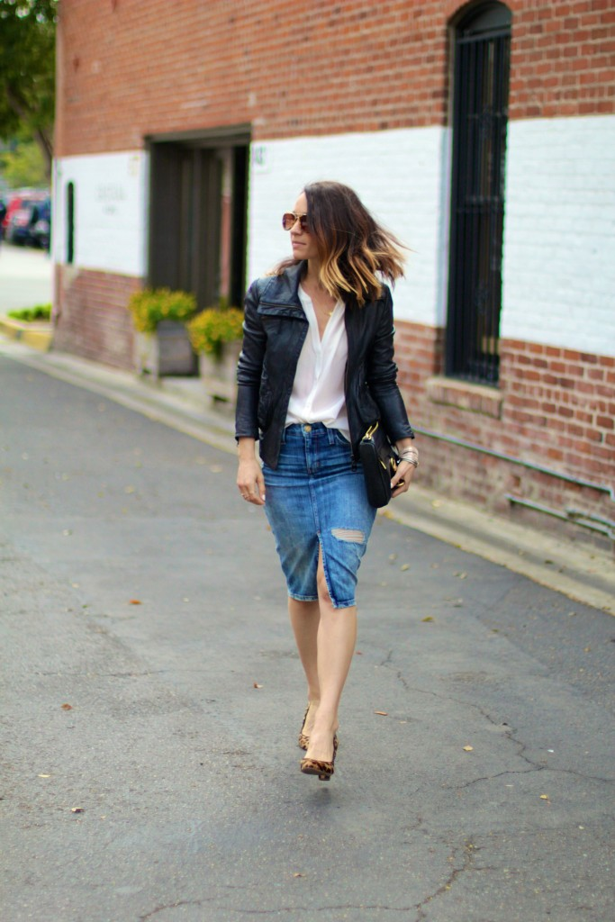 denim skirt, leather jacket