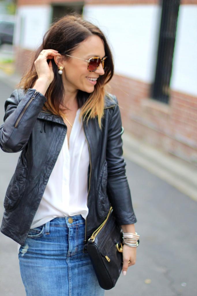 360 earrings, leather jacket, denim skirt