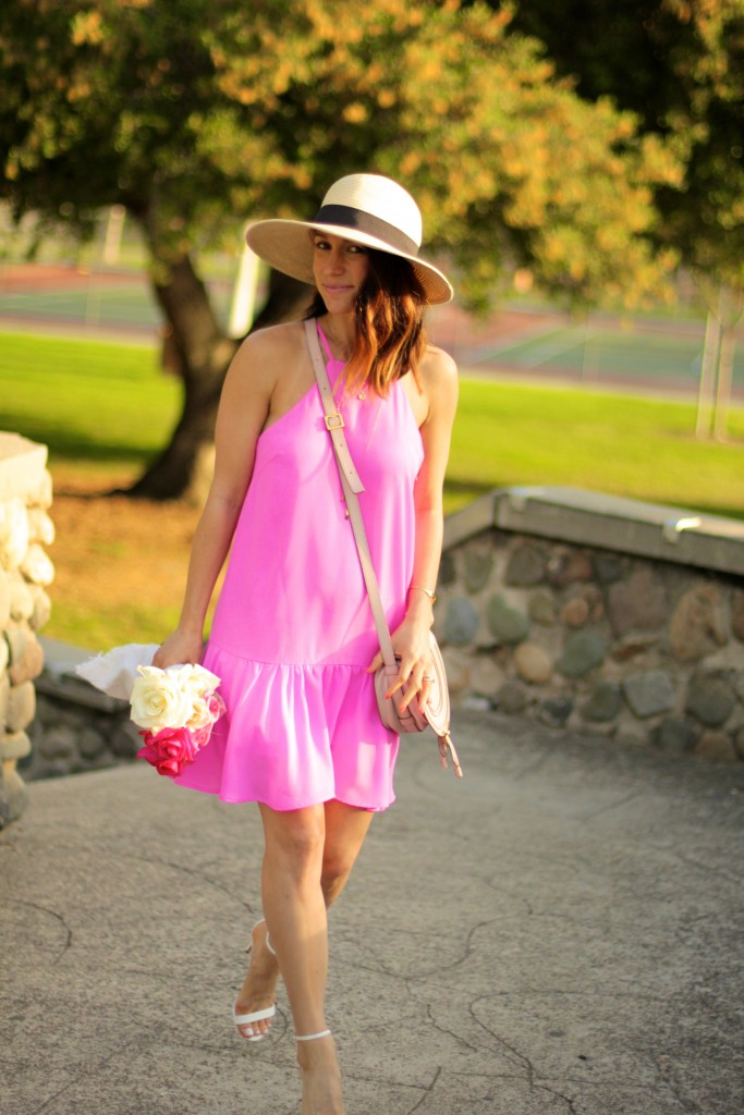 pink drop waist dress, white heels, spring dresses, itsy bitsy indulgences